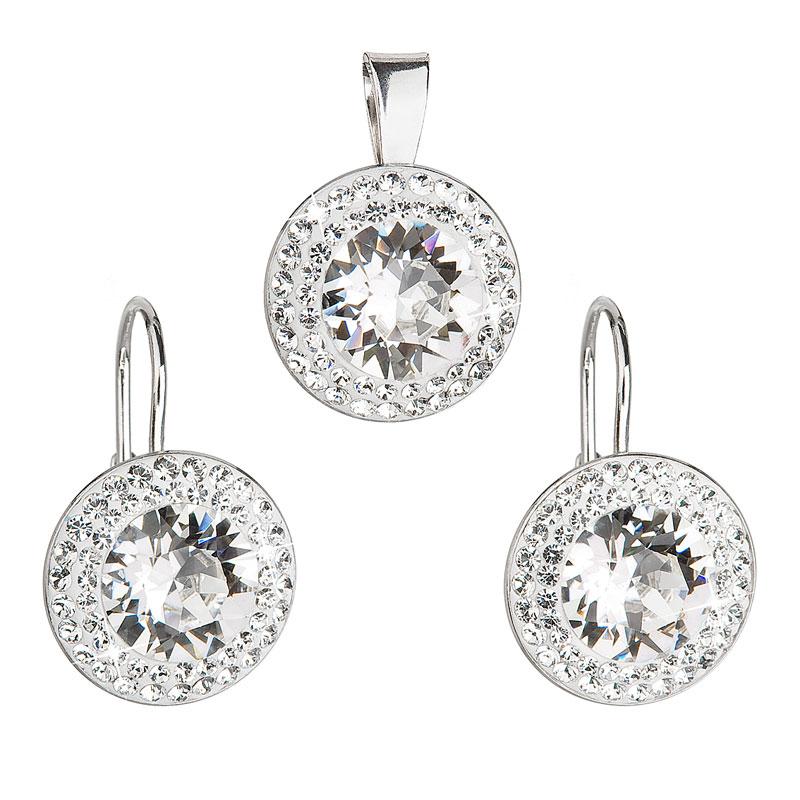 57caa6bc2 Evolution Group Sada šperků s krystaly Swarovski náušnice a přívěsek bílé  kulaté 39107.1, dárkové balení