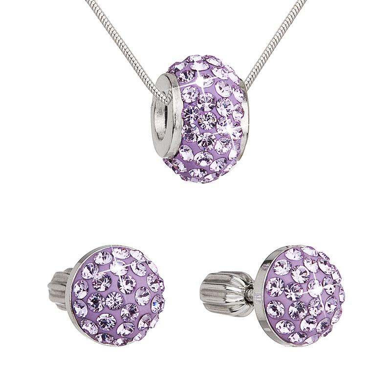 Sada šperků s krystaly náušnice a přívěsek fialové kulaté 39200.3