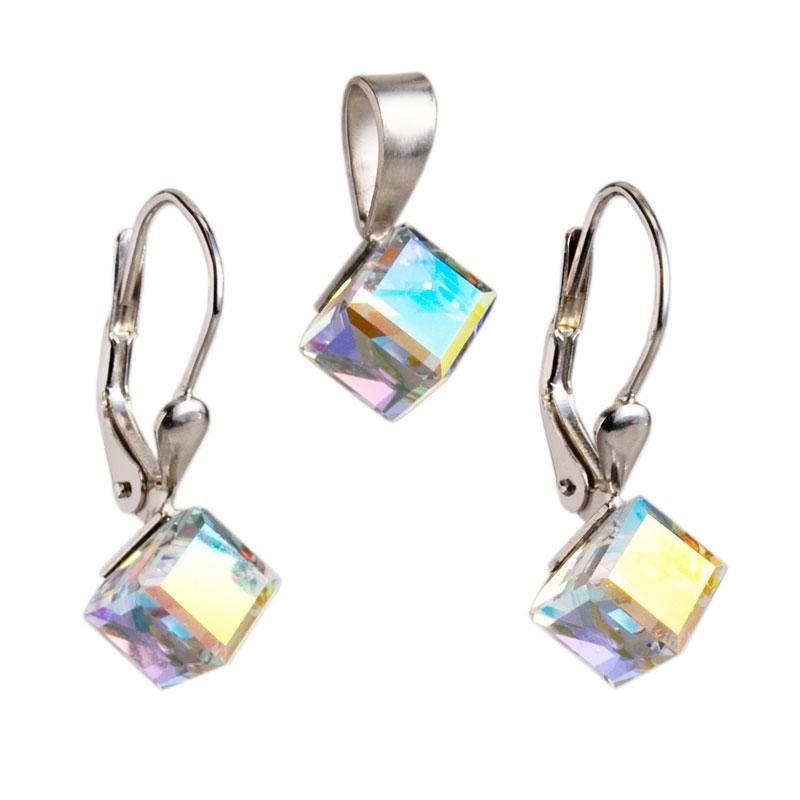 Sada šperků s krystaly Swarovski náušnice a přívěsek AB efekt bílá kostička 39068.2