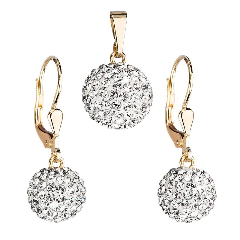 Evolution Group Zlatá 14 karátová sada šperků s krystaly Swarovski náušnice a přívěsek bílá 939072.1