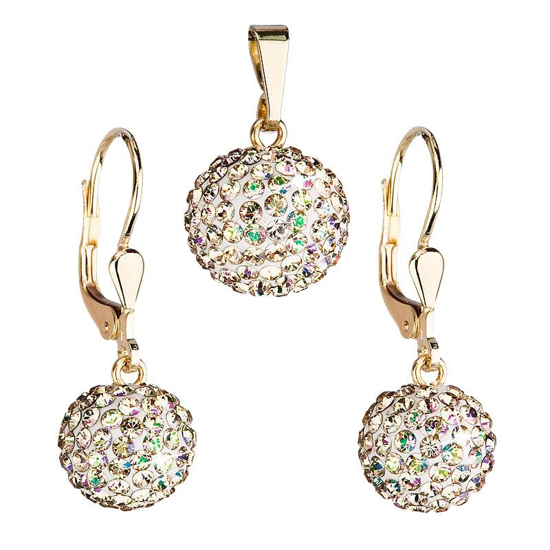 Evolution Group Zlatá 14 karátová sada šperků s krystaly Swarovski náušnice a přívěsek zeleno-zlatá 939072.6