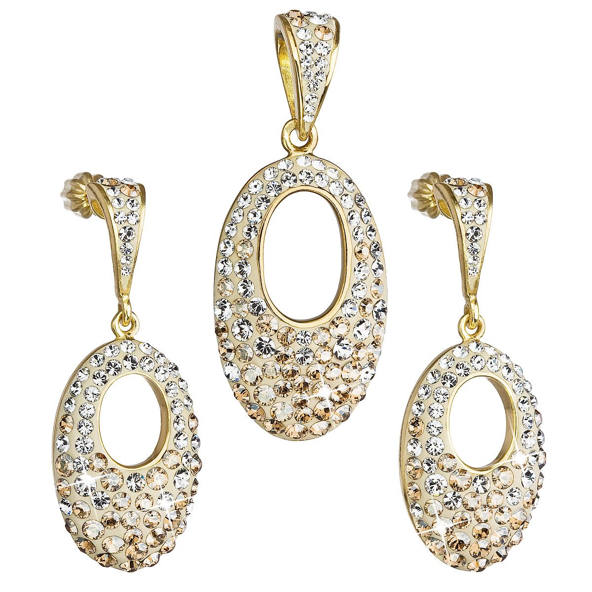 Evolution Group Sada šperků s krystaly Swarovski náušnice a přívěsek zlatý ovál 39075.6, dárkové balení
