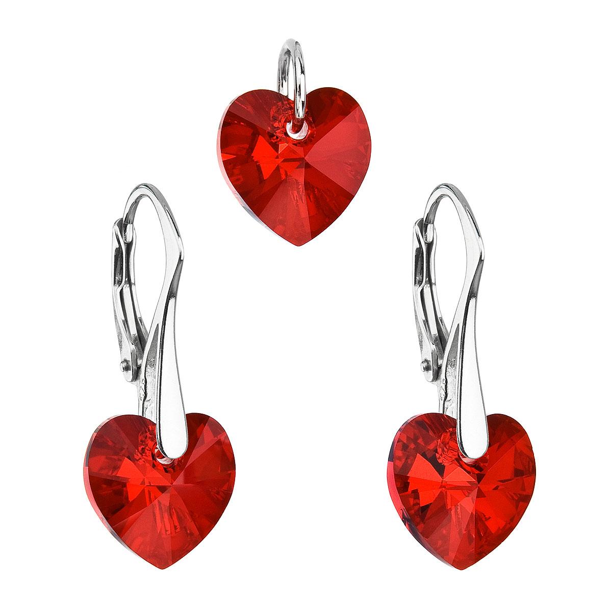 Evolution Group Sada šperků s krystaly Swarovski náušnice a přívěsek červená srdce 39003.4