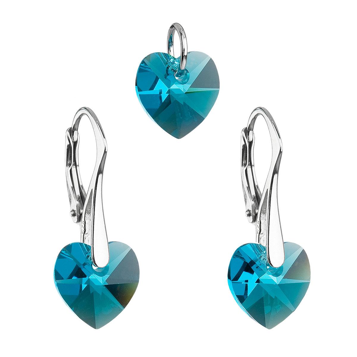 Evolution Group Sada šperků s krystaly Swarovski náušnice a přívěsek modrá srdce 39003.4