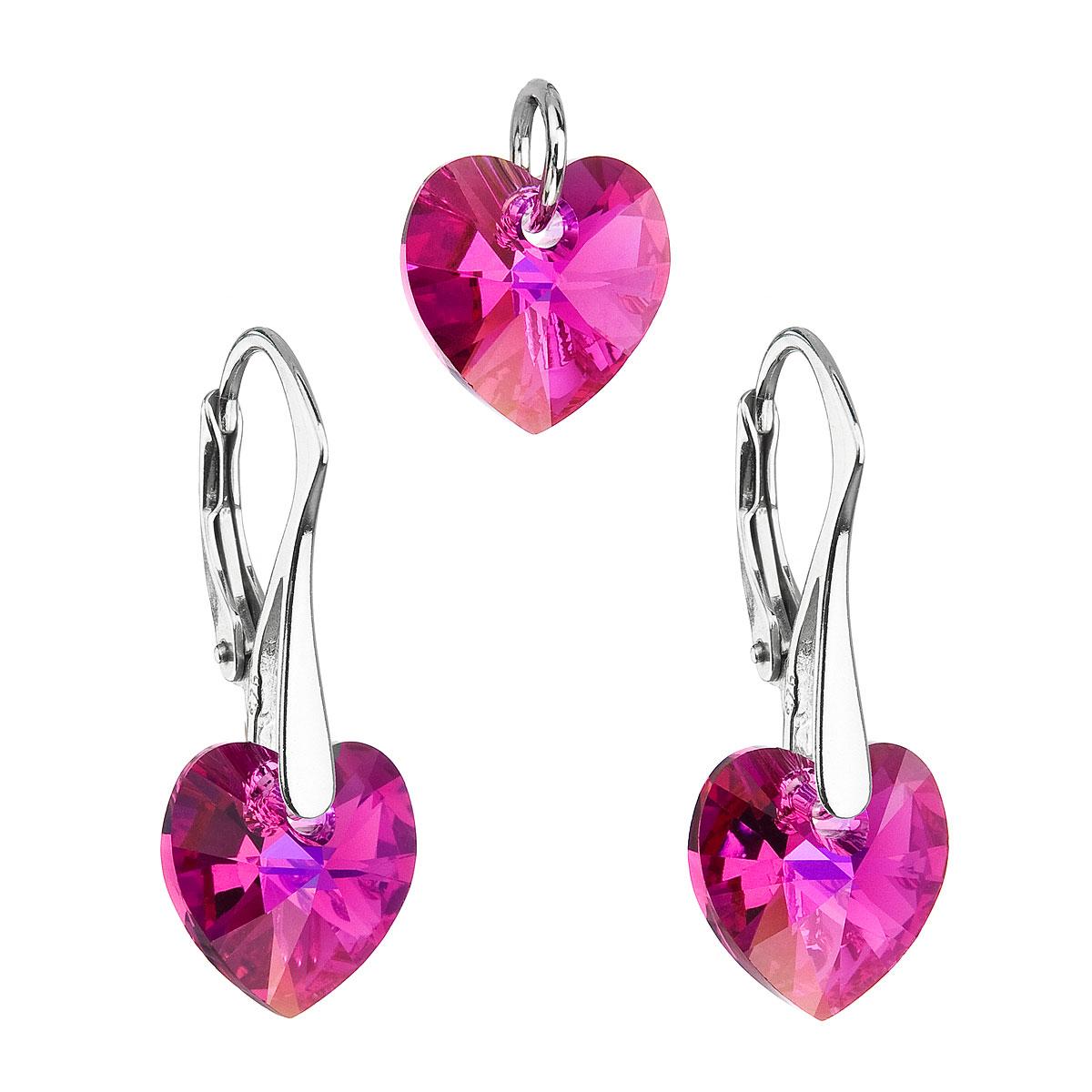 Evolution Group Sada šperků s krystaly Swarovski náušnice a přívěsek růžová srdce 39003.4