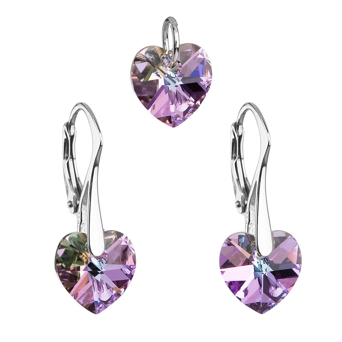 Sada šperků s krystaly Swarovski náušnice a přívěsek fialová srdce 39003.5