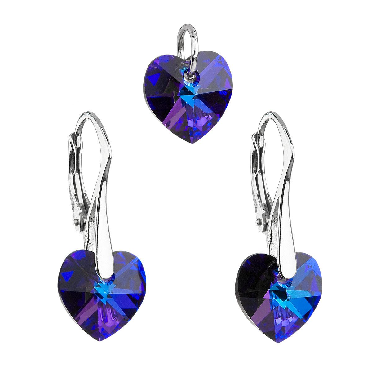 Evolution Group Sada šperků s krystaly Swarovski náušnice a přívěsek modrá srdce 39003.5 heliotrope