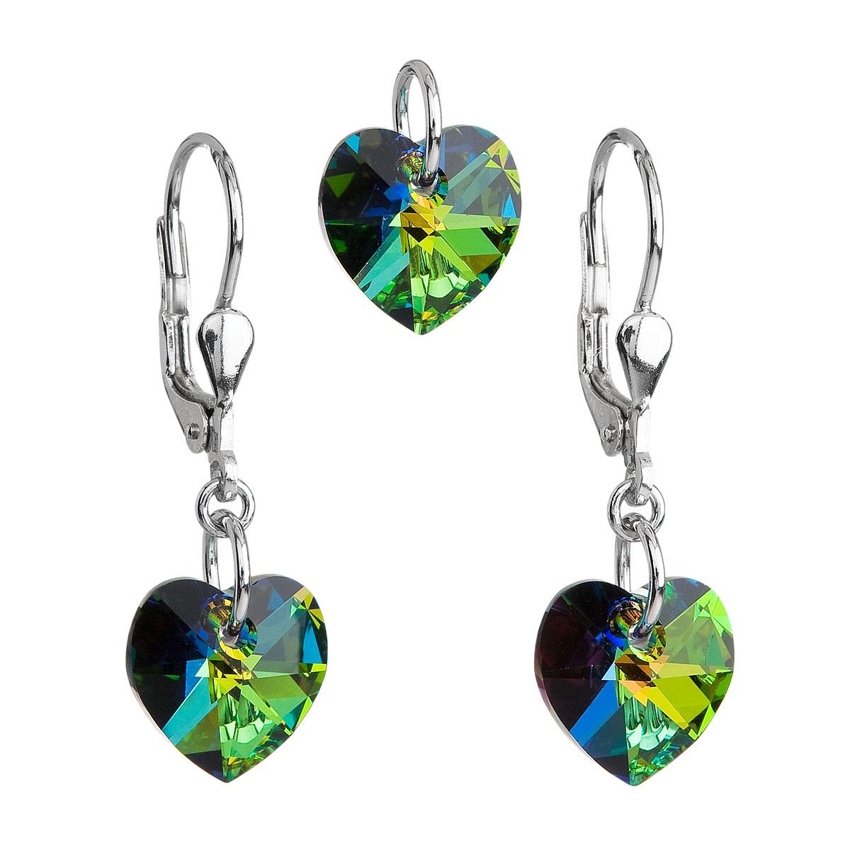 Sada šperků s krystaly Swarovski náušnice a přívěsek zelená srdce 39003.5
