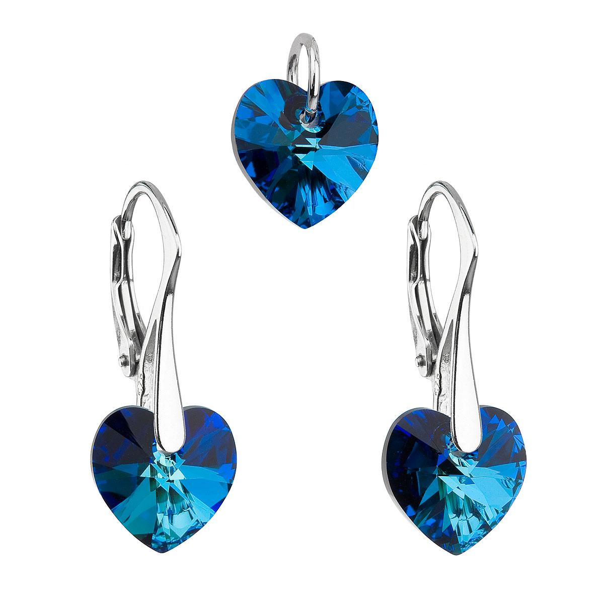 Evolution Group Sada šperků s krystaly Swarovski náušnice a přívěsek modrá srdce 39003.5 bermuda blue