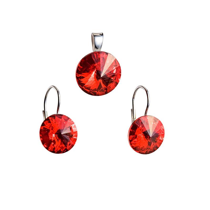 Sada šperků s krystaly náušnice a přívěsek červené kulaté 39012.3