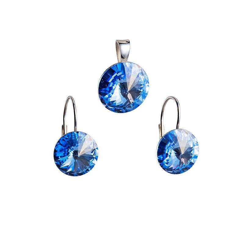 Sada šperků s krystaly Swarovski náušnice a přívěsek modré kulaté 39012.3