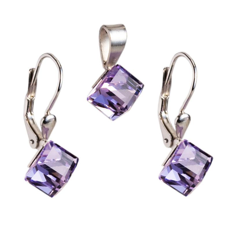 Sada šperků s krystaly náušnice a přívěsek fialová kostička 39068.3