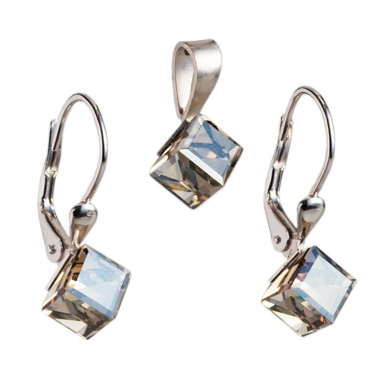 Sada šperků s krystaly náušnice a přívěsek zlatá kostička 39068.5