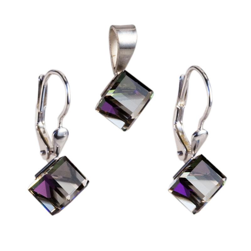 Sada šperků s krystaly náušnice a přívěsek fialová kostička 39068.5 heliotrope
