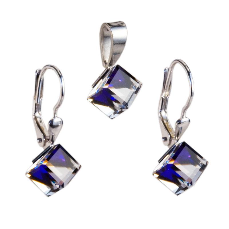 Sada šperků s krystaly náušnice a přívěsek modrá kostička 39068.5 bermuda blue
