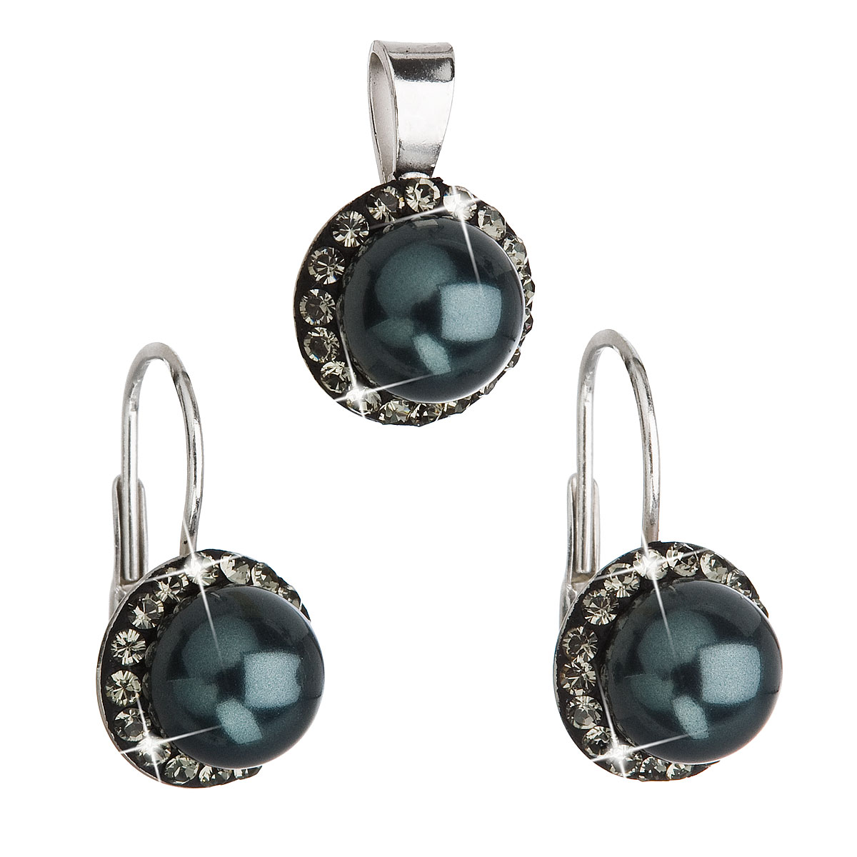 Sada šperků s krystaly Swarovski náušnice a přívěsek zelená perla kulaté 39091.3