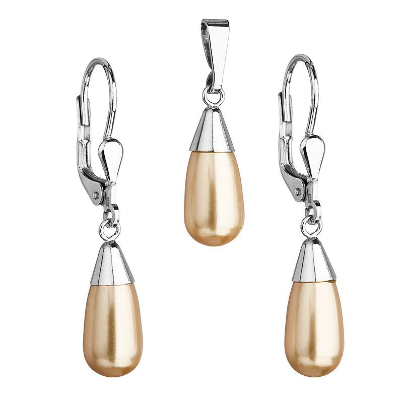 Evolution Group Sada šperků s perlami Swarovski náušnice a přívěsek zlatá perla slza 39119.3