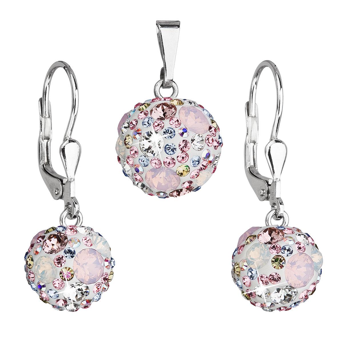 Evolution Group Sada šperků s krystaly Swarovski náušnice a přívěsek růžové kulaté 39072.3, dárkové balení
