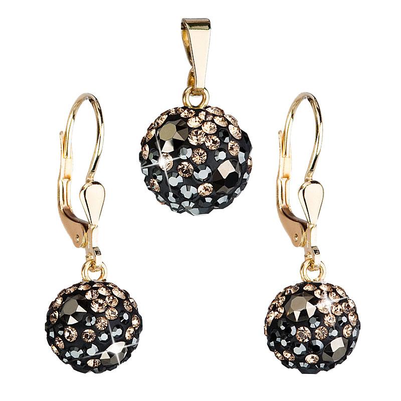 Evolution Group Zlatá 14 karátová sada šperků s krystaly Swarovski náušnice a přívěsek mix barev 939072.4 colorado