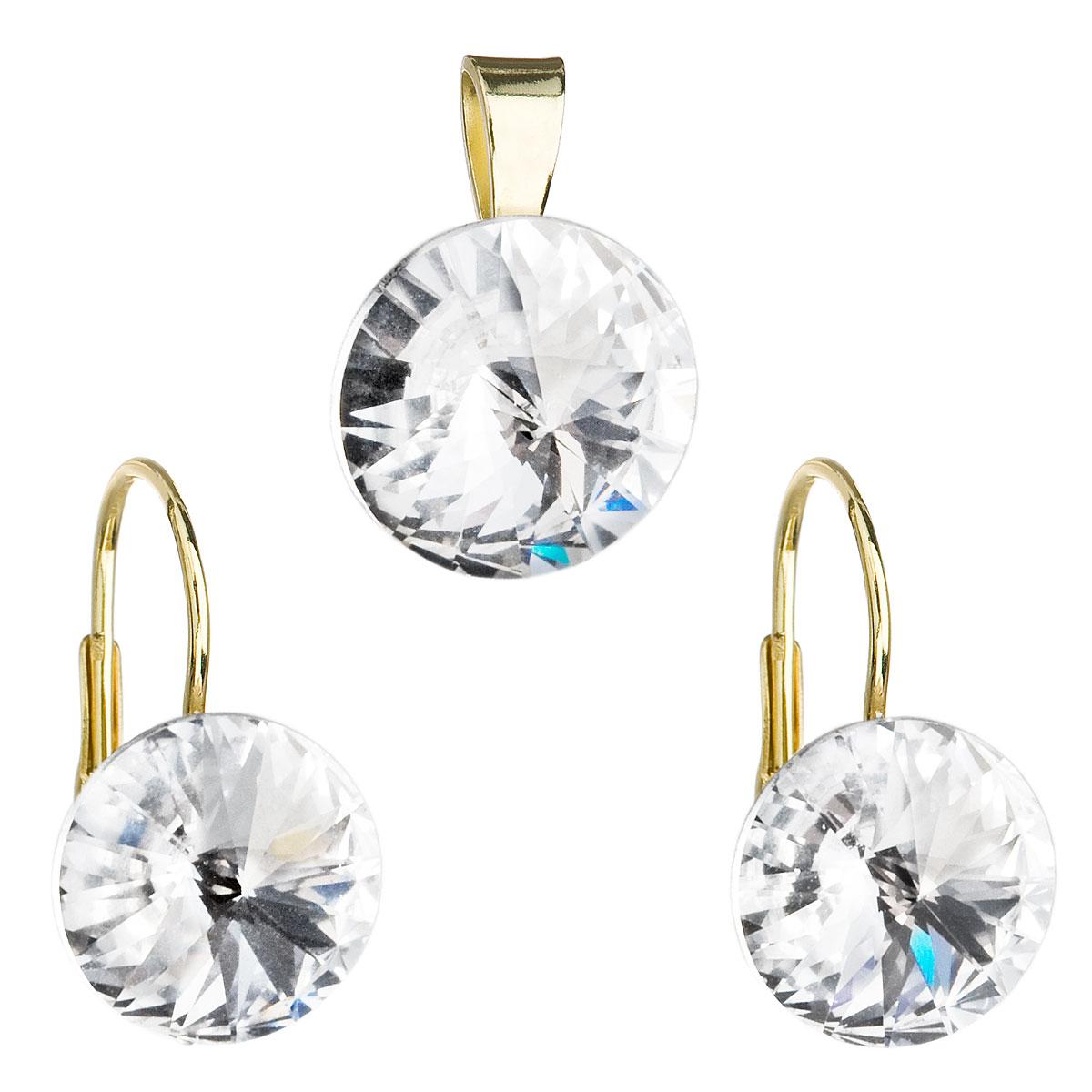 Sada šperků s krystaly náušnice a přívěsek bílé kulaté 39012.1