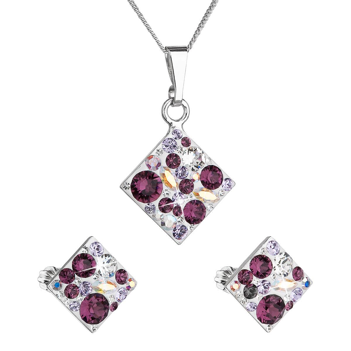 Sada šperků s krystaly Swarovski náušnice, řetízek a přívěsek fialový kosočtverec VP 39126.3 amethyst
