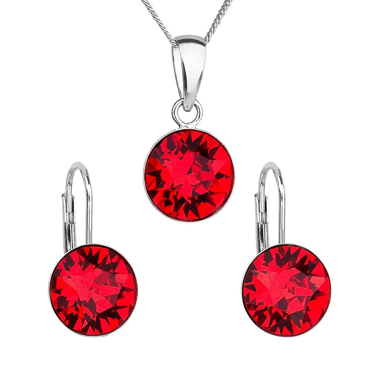 Sada šperků s krystaly Swarovski náušnice, řetízek a přívěsek červené kulaté 39140.3