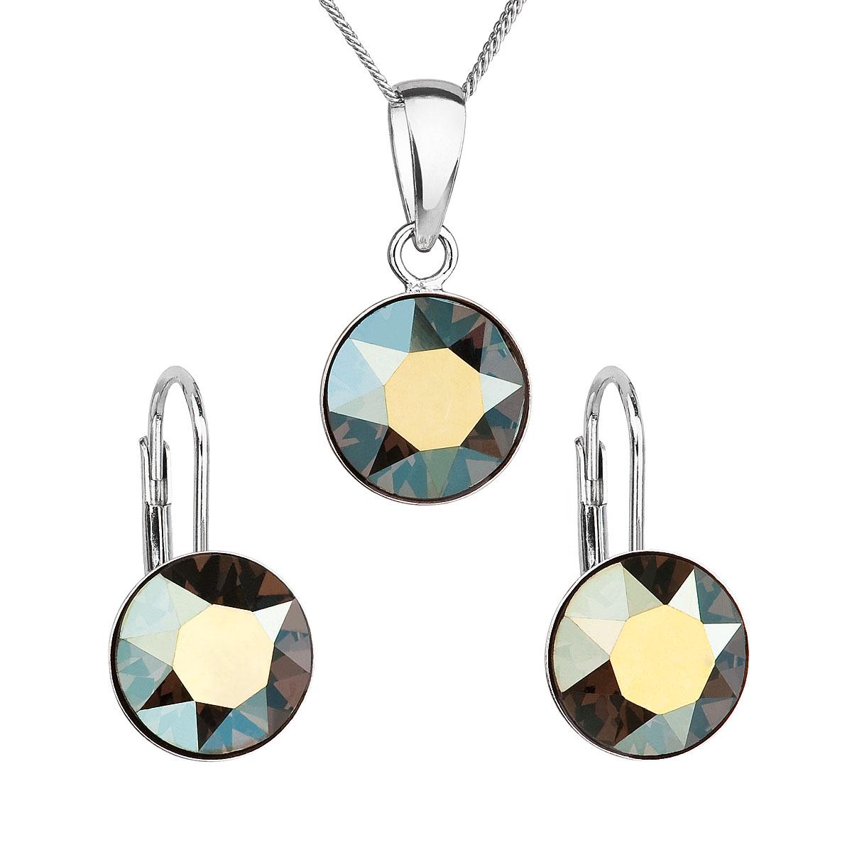 Sada šperků s krystaly Swarovski náušnice, řetízek a přívěsek zelené kulaté 39140.3