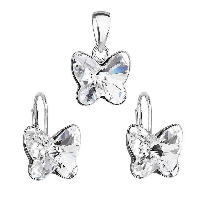 Evolution Group Stříbrná sada šperků se Swarovski krystaly náušnice a přívěsek 39142.1 motýl