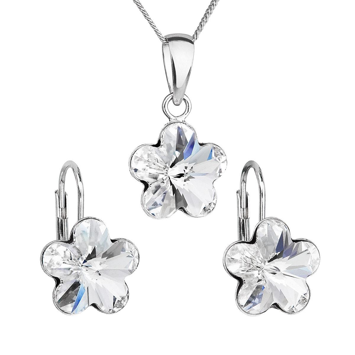 Evolution Group Sada šperků s krystaly Swarovski náušnice, řetízek a přívěsek bílá kytička 39143.1