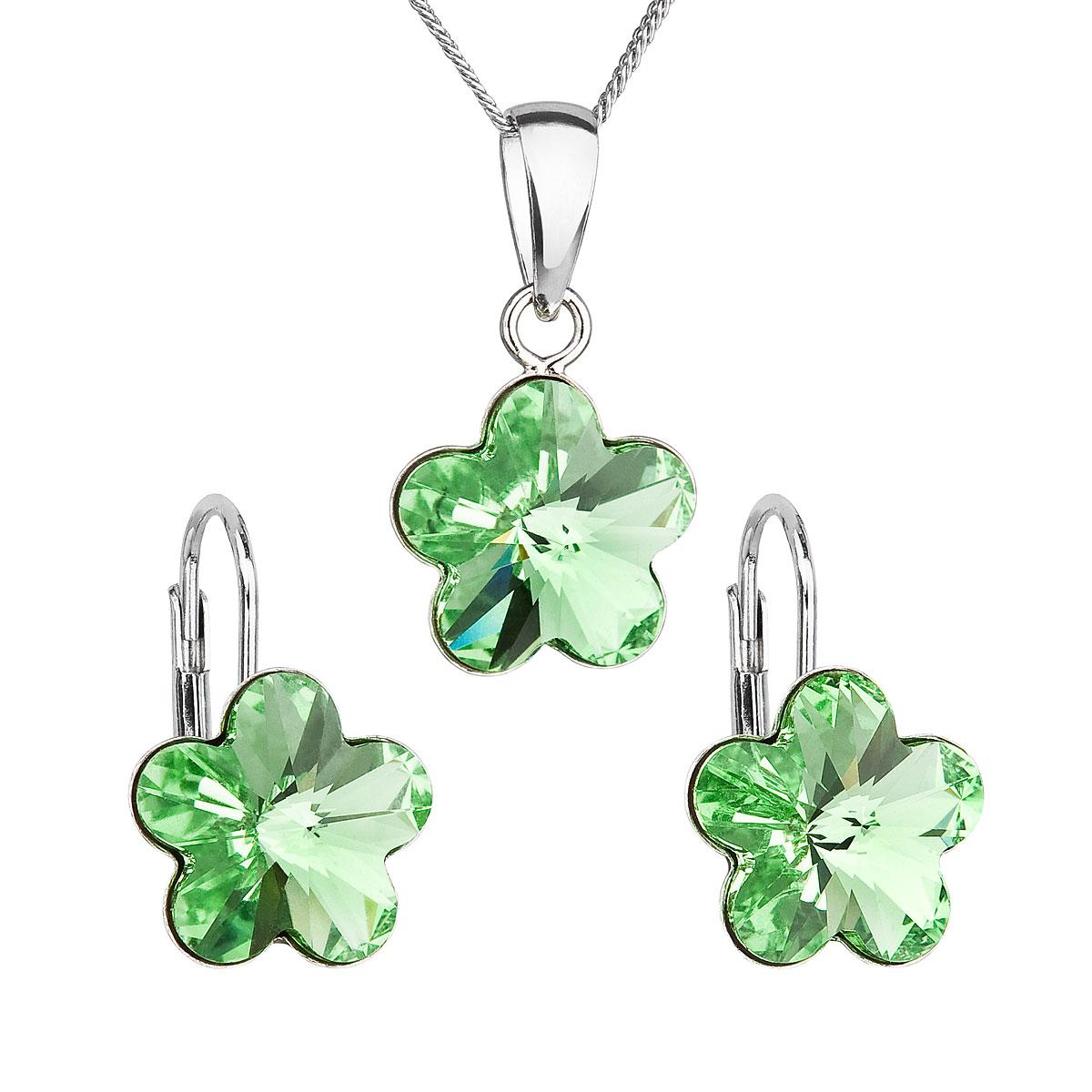 Evolution Group Sada šperků s krystaly Swarovski náušnice, řetízek a přívěsek zelená kytička 39143.3