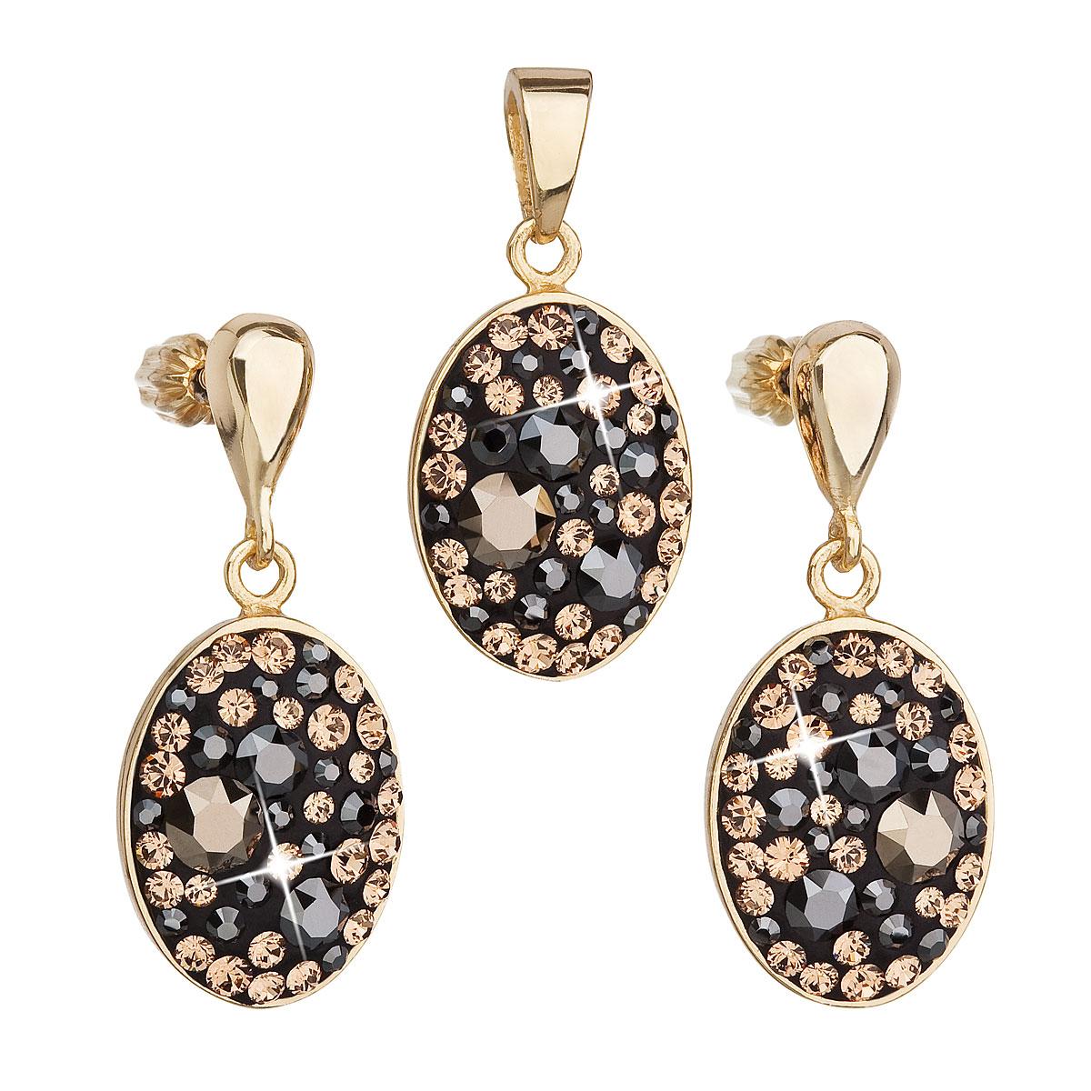 Evolution Group Sada šperků s krystaly Swarovski náušnice a přívěsek mix barev černá hnědá zlatá ovál 39150.4, dárkové balení