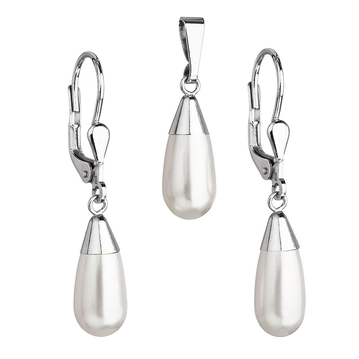 Evolution Group Sada šperků s perlami Swarovski náušnice a přívěsek bílá perla slza 39119.1