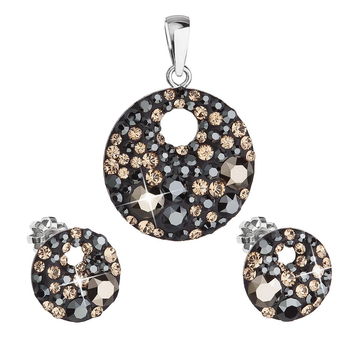 Evolution Group Sada šperků s krystaly Swarovski náušnice a přívěsek mix barev černá hnědá zlatá kulaté 39148.4, dárkové balení