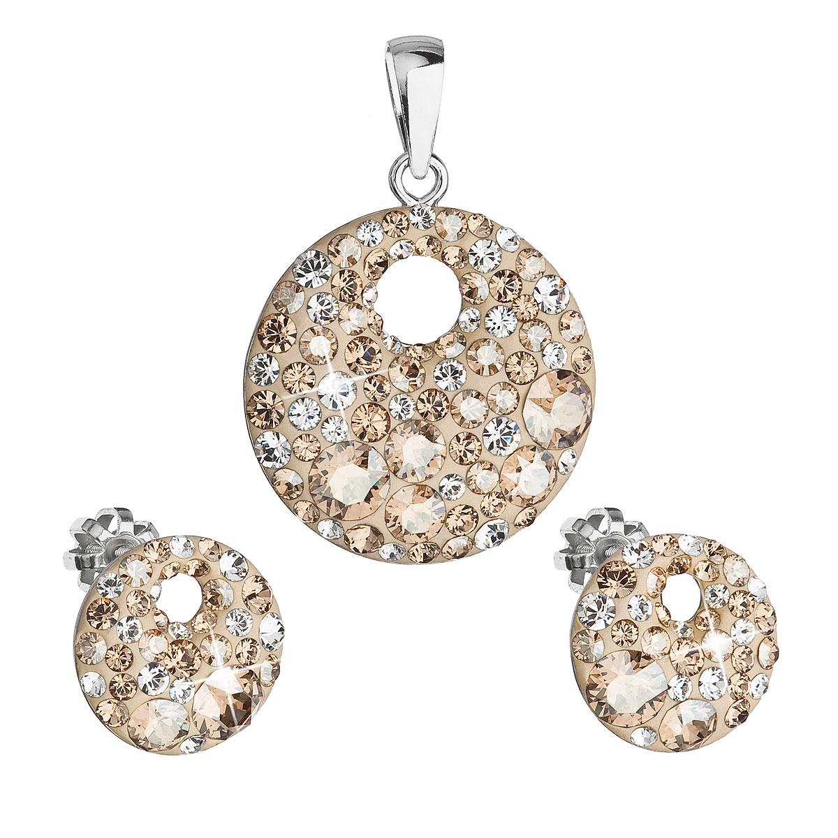 Evolution Group Sada šperků s krystaly Swarovski náušnice a přívěsek zlaté kulaté 39148.5, dárkové balení