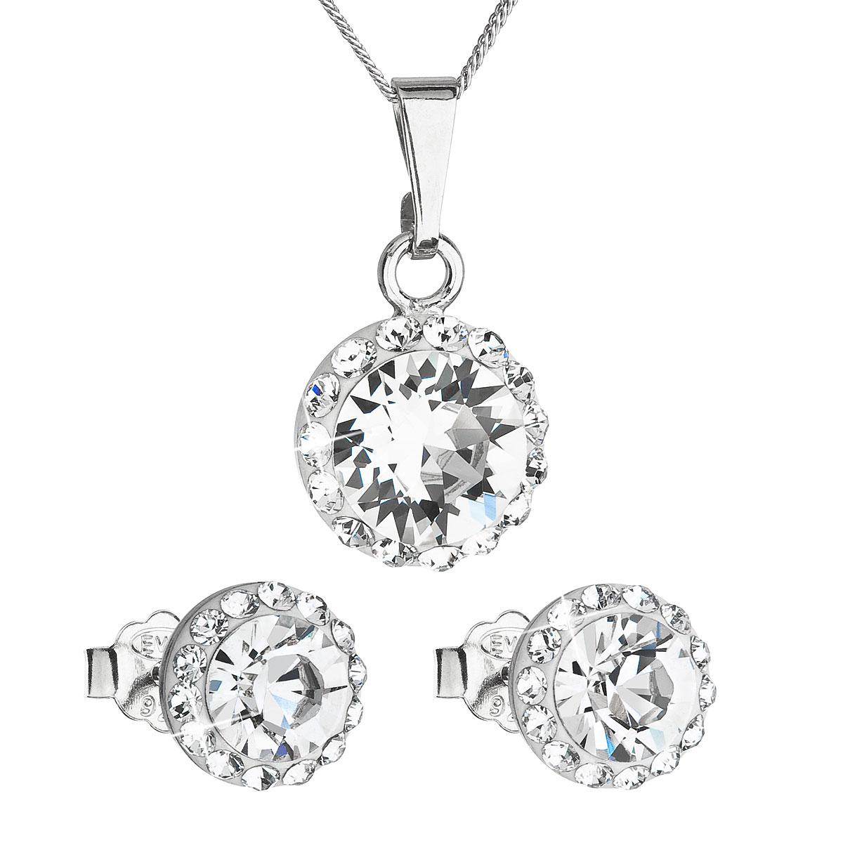 Sada šperků s krystaly Swarovski náušnice, řetízek a přívěsek bílé kulaté 39152.1