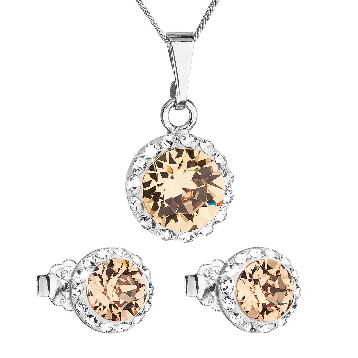 Sada šperků s krystaly Swarovski náušnice, řetízek a přívěsek hnědé oranžové kulaté 39152.3