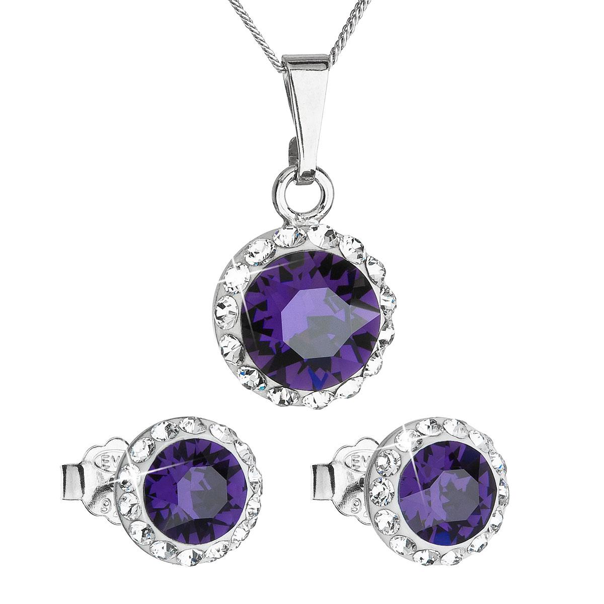 Sada šperků s krystaly Swarovski náušnice, řetízek a přívěsek fialové kulaté 39152.3 purple