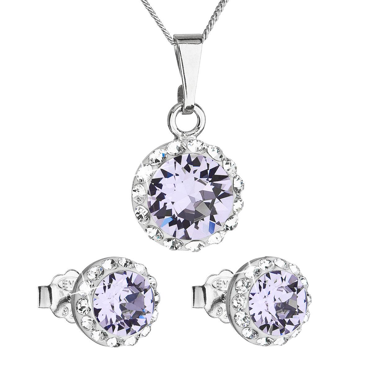 Sada šperků s krystaly Swarovski náušnice, řetízek a přívěsek fialové kulaté 39152.3 violet