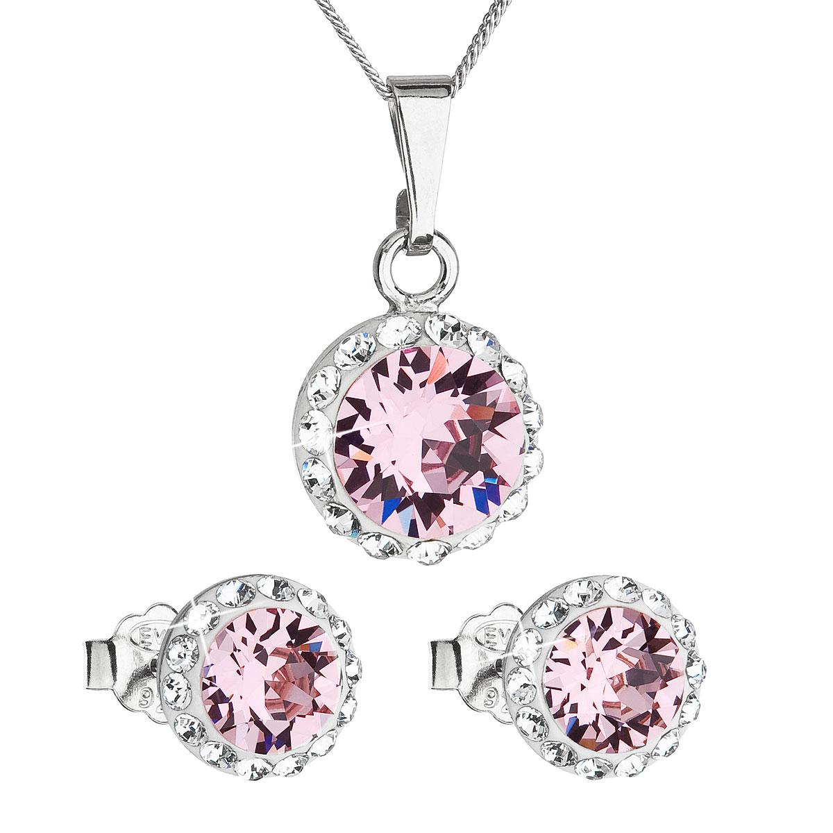 Sada šperků s krystaly Swarovski náušnice, řetízek a přívěsek růžové kulaté 39152.3 rose