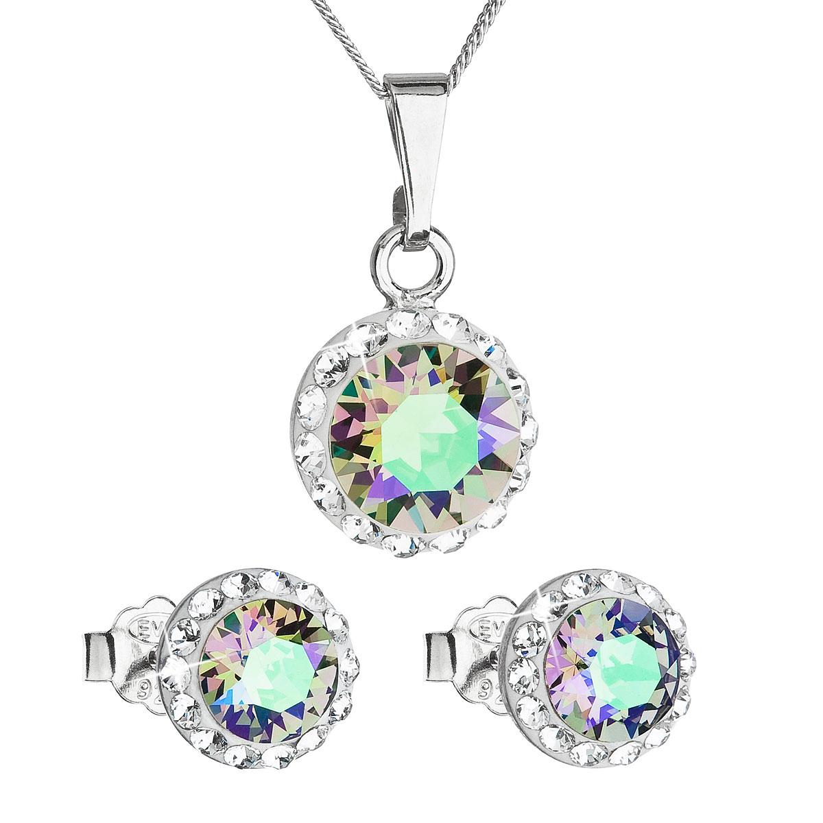 Sada šperků s krystaly Swarovski náušnice a přívěsek zelené fialové kulaté 39152.5