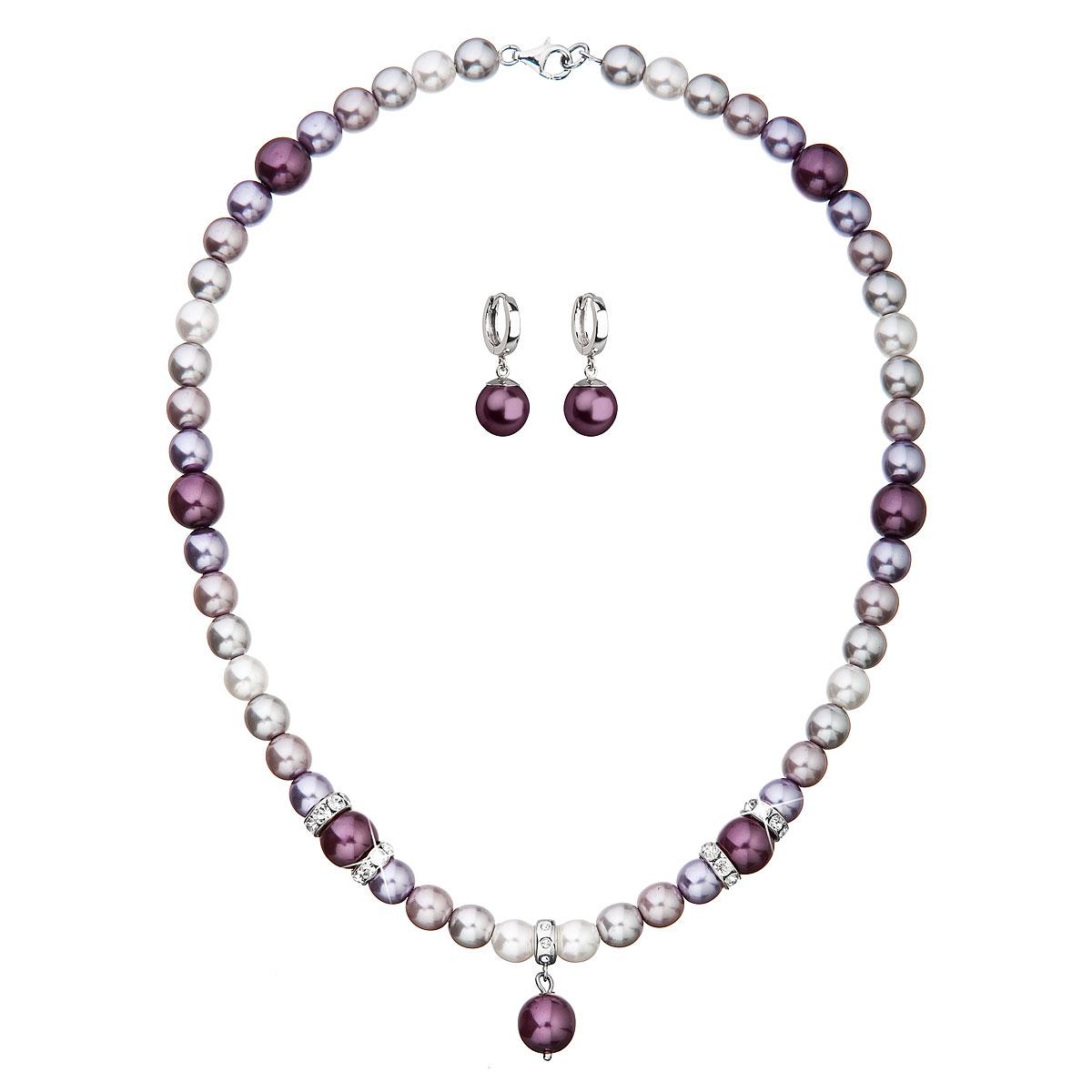 Evolution Group Sada šperků s krystaly Swarovski a perlami náušnice a přívěsek fialové kulaté 39153.3, dárkové balení