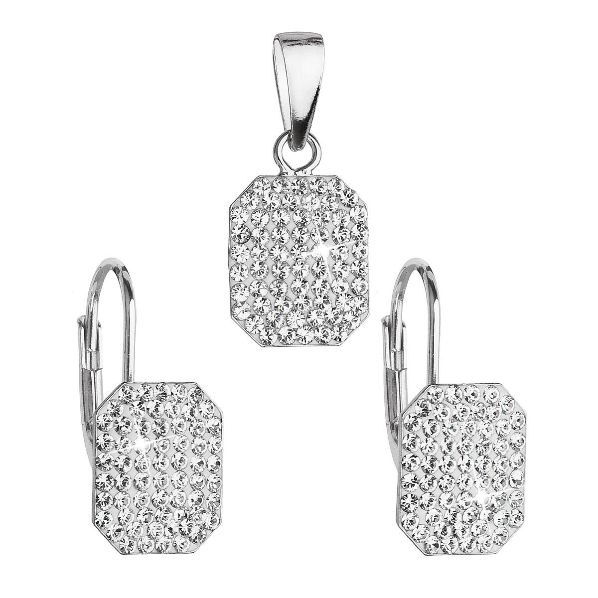 Sada šperků s krystaly Swarovski náušnice a přívěsek bílé obdélník 39156.1