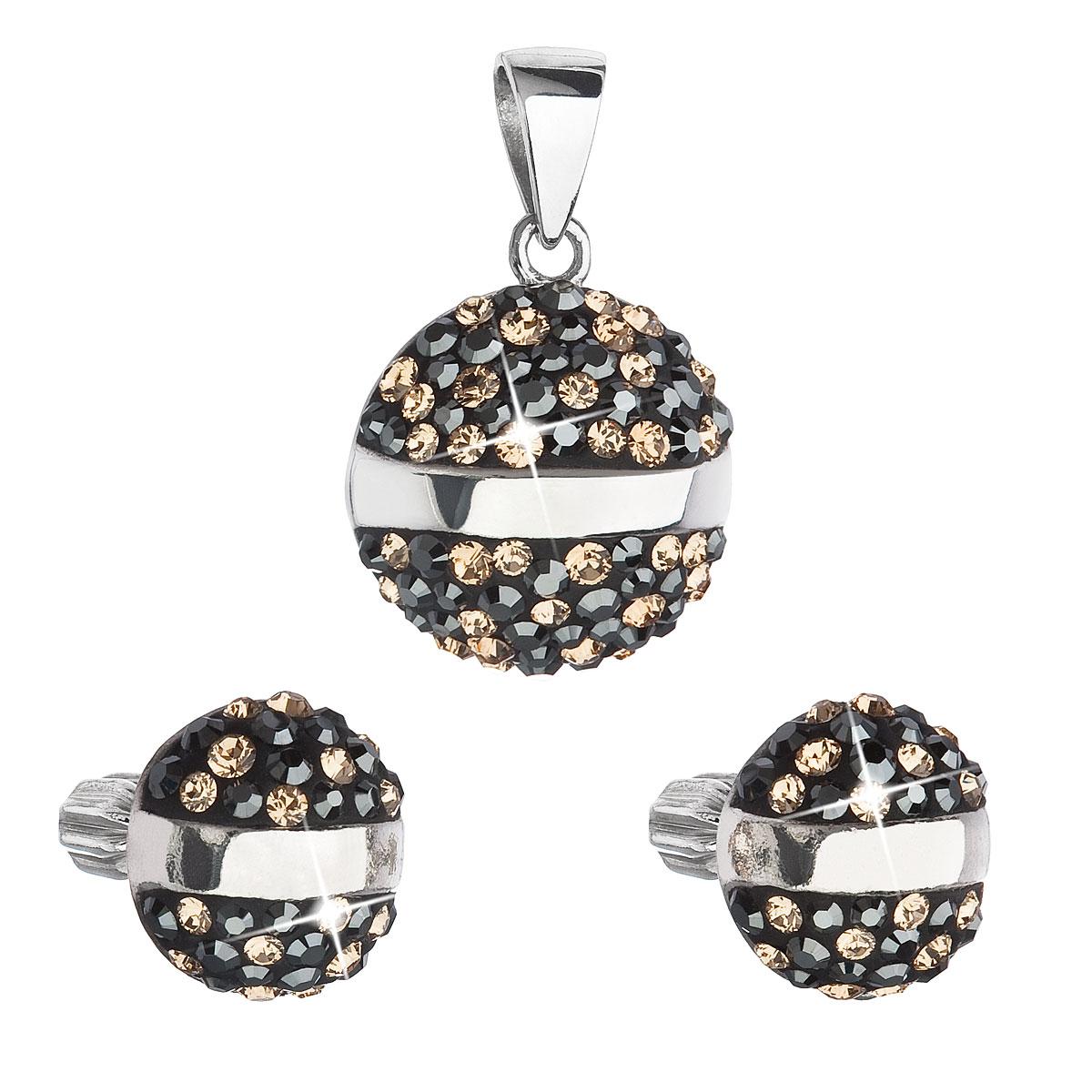 Evolution Group Sada šperků s krystaly Swarovski náušnice a přívěsek mix barev černá hnědá zlatá kulaté 39157.4, dárkové balení