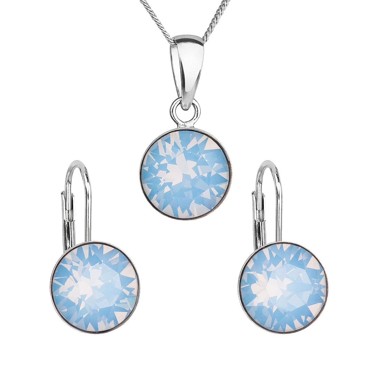 Sada šperků s krystaly Swarovski náušnice a přívěšek modré kulaté 39140.7 blue opál