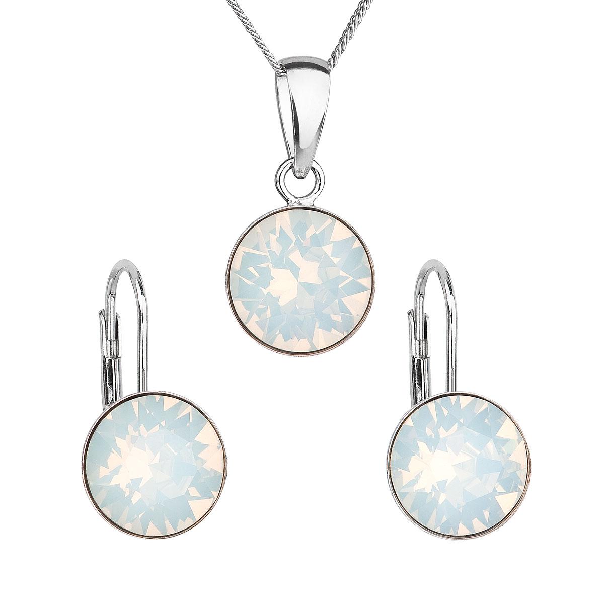 Sada šperků s krystaly Swarovski náušnice a přívěšek bílé kulaté 39140.7 white opál