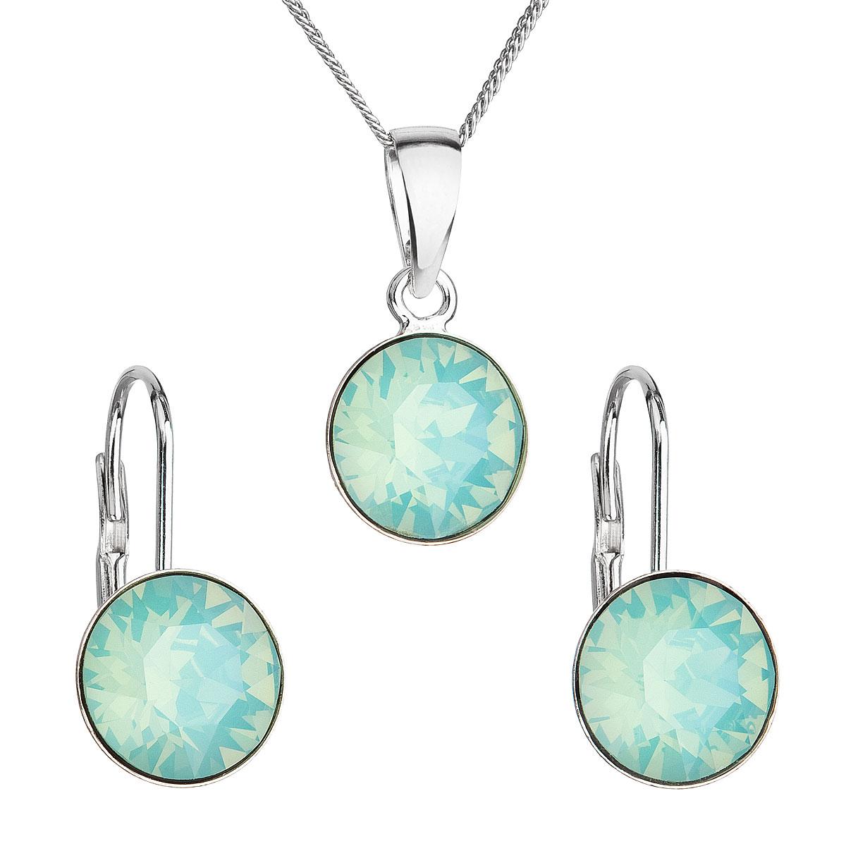 Sada šperků s krystaly Swarovski náušnice,řetízek a přívěsek modré kulaté 39140.7 pacific opal