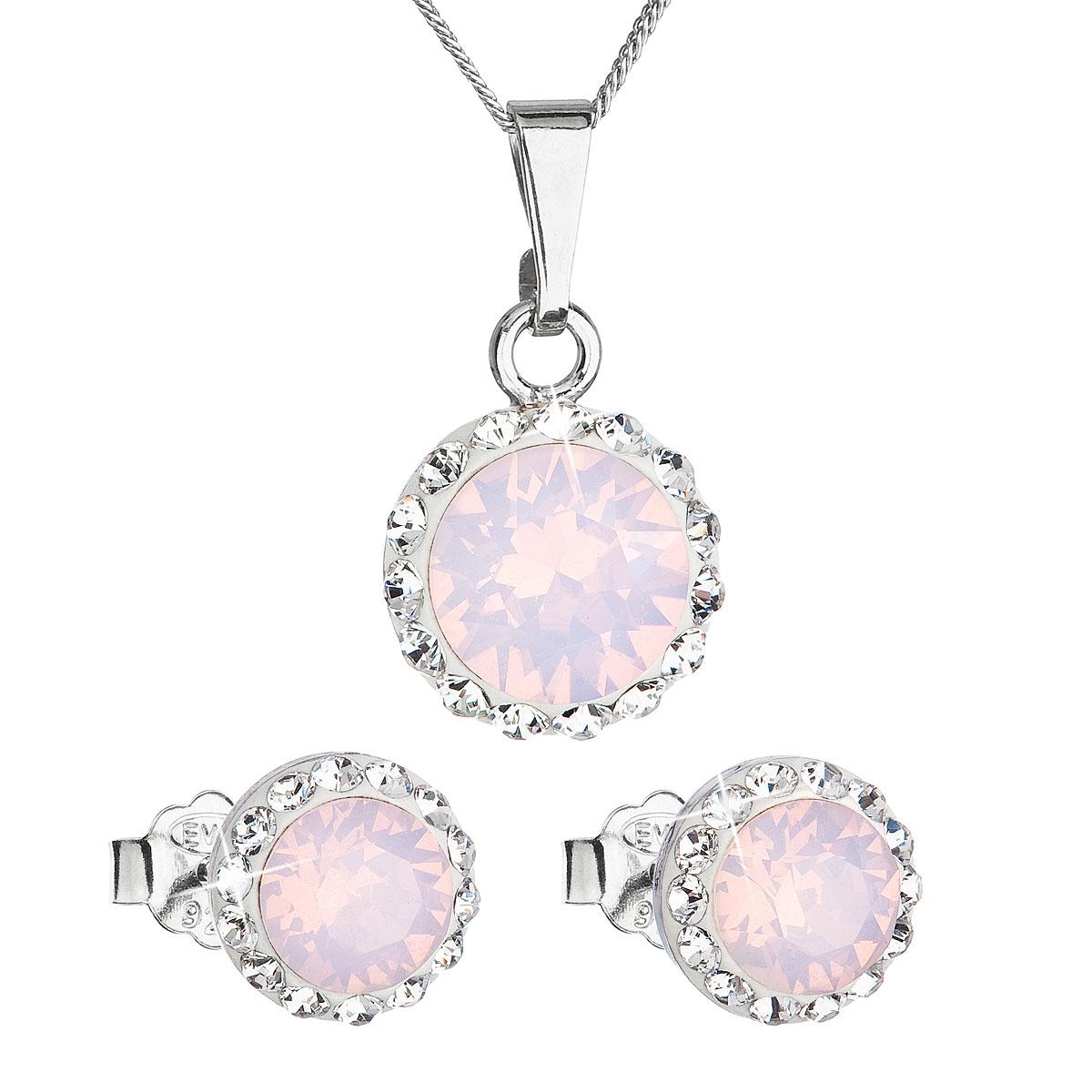 c08ffda56 Evolution Group Sada šperků s krystaly Swarovski náušnice a přívěšek růžové  opálové kulaté 39152.7, dárkové