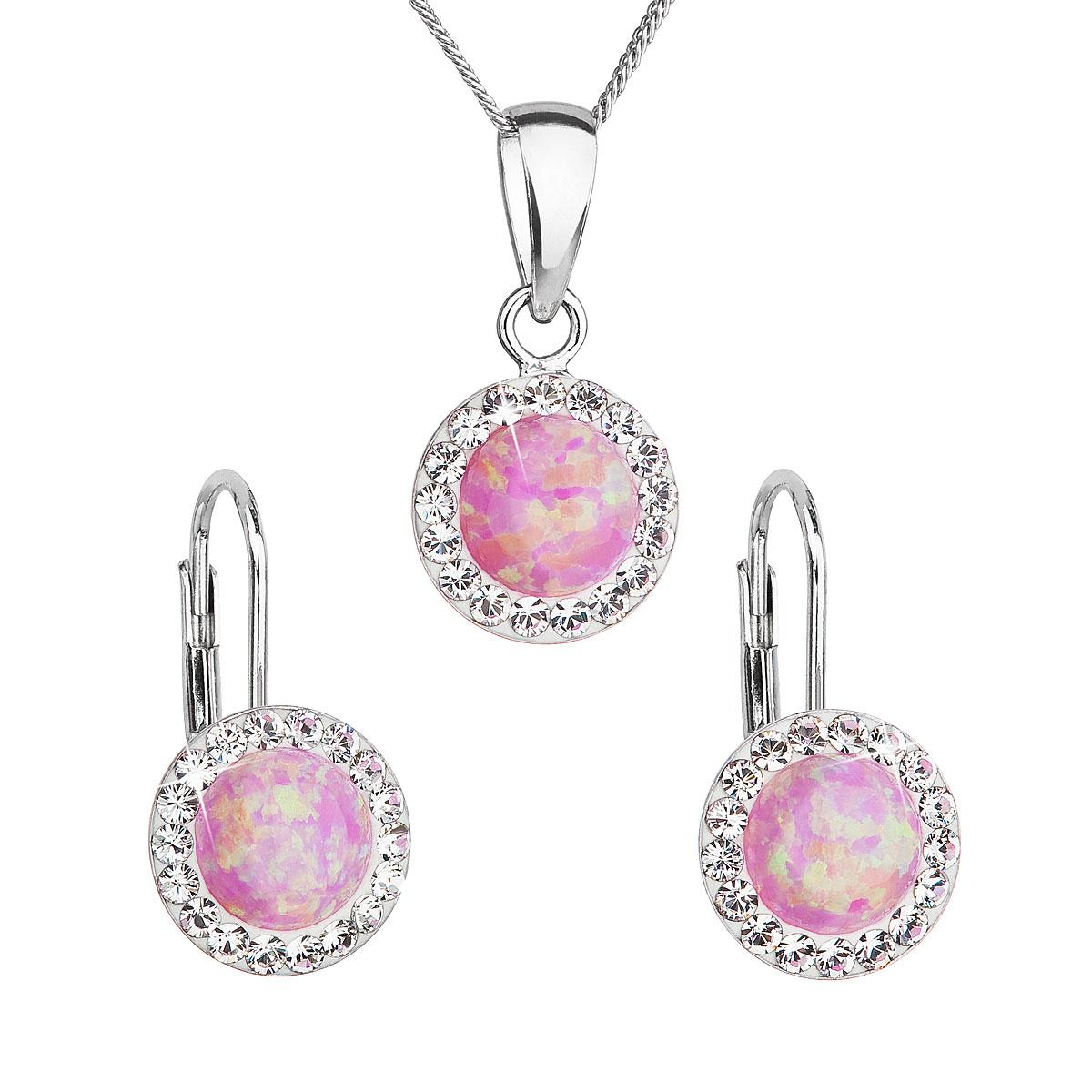Sada šperků se syntetickým opálem a krystaly Swarovski náušnice a přívěšek světle růžové kulaté 39160.1