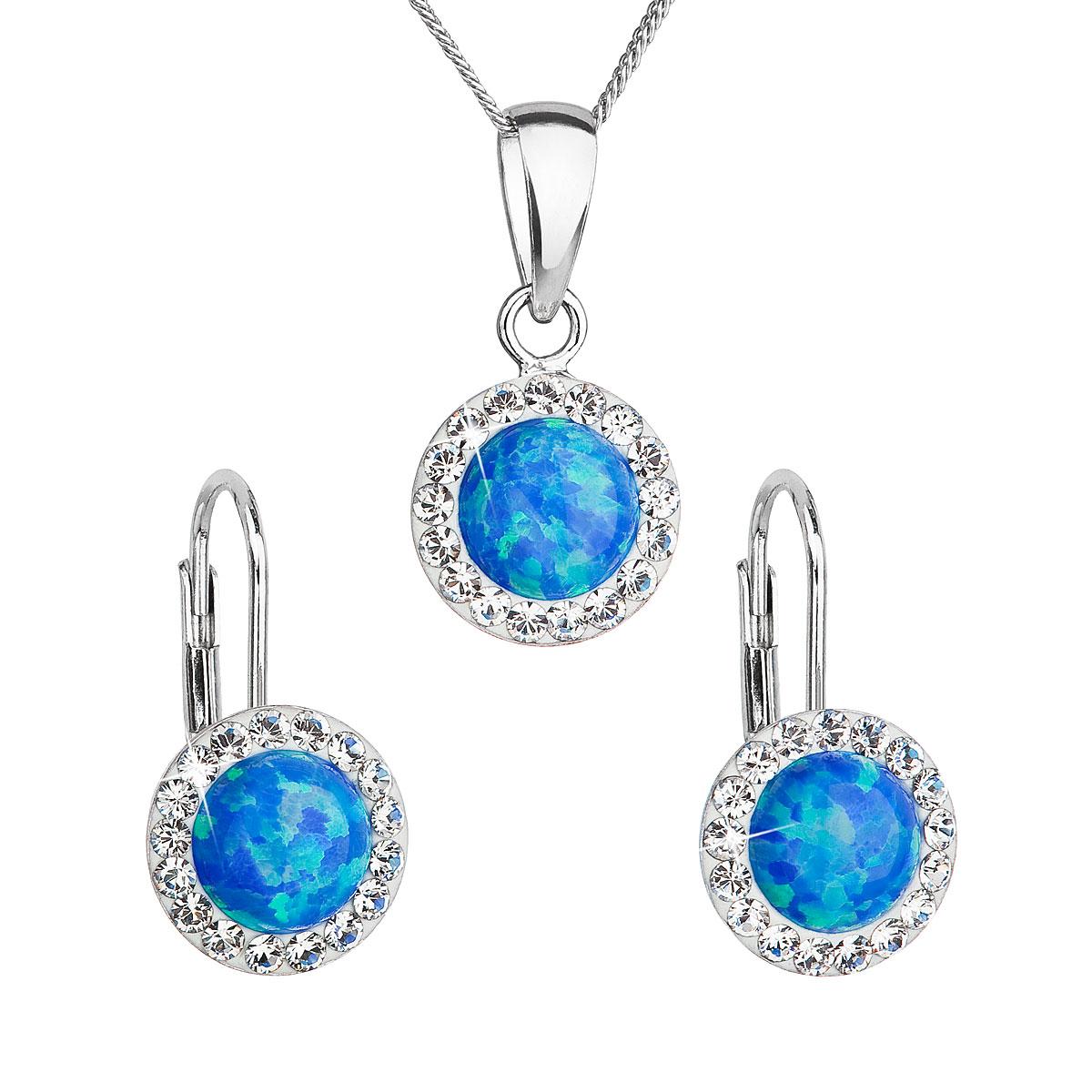 Sada šperků se syntetickým opálem a krystaly Swarovski náušnice a přívěšek modré kulaté 39160.1