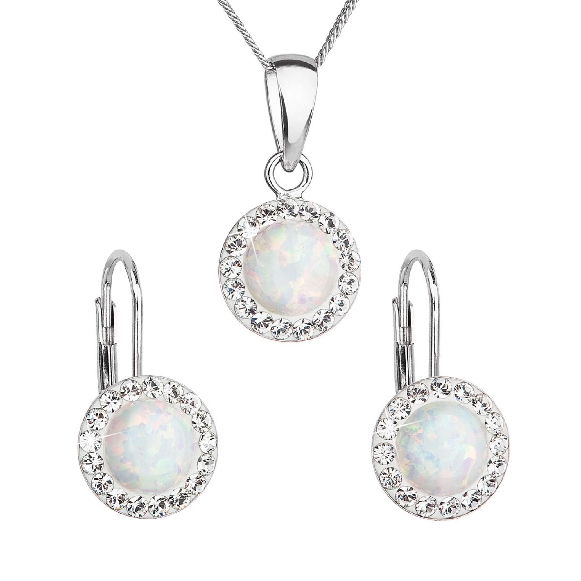 Sada šperků se syntetickým opálem a krystaly Swarovski náušnice a přívěšek bílé kulaté 39160.1